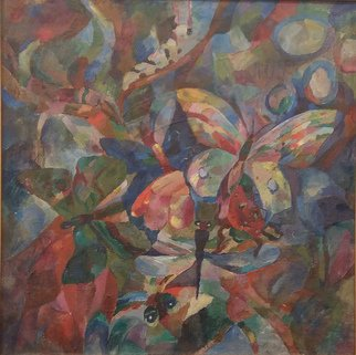 Tamara Black; Nature Part 2, 2000, Original Painting Oil, 52 x 52 cm. Artwork description: 241 Analytical Cubism, Nature, Flowers, ButterflySignedFramedFrame Color: Gold...