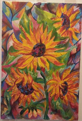 Tamara Black; Sunflowers, 2017, Original Painting Oil, 40 x 60 cm. Artwork description: 241 Flowers, Nature, SunflowerSIgnedUnframed...