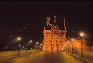 Tamarra Tamarra; Louvre At Midnight, 2017, Original Photography Color, 14 x 11 inches. Artwork description: 241 photography, city, urban, Paris, France, Europe, color photography, photograph, museum, Louvre, building, night photography, midnight, misty, architecture, walkway, night, street lights, mysterious, ...