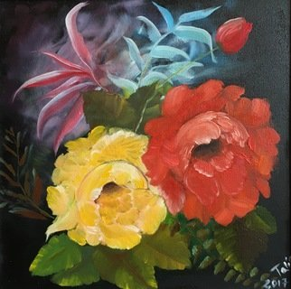 Alina  Tanase; Pair, 2017, Original Painting Oil, 30 x 30 cm. Artwork description: 241 rose, flower, night, floral...