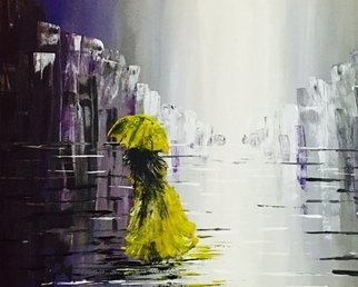 Alina  Tanase; Second Night Alone, 2017, Original Painting Acrylic, 70 x 50 cm. Artwork description: 241 woman, umbrella, rain, night, alone, urban, solitudine...