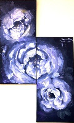 Alina  Tanase; White Roses, 2017, Original Painting Oil, 35 x 80 cm. Artwork description: 241 white, rose, black, canvas, original, direct from the artist, 2 panels, each panel is 35x80cm, redy to hang...