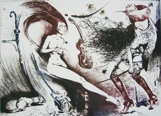 Roberto Andreev; Accident With Violine And..., 1992, Original Printmaking Etching, 62 x 48 cm.
