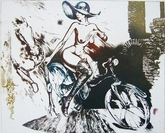 Roberto Andreev; Bicycle Girl With Element..., 1994, Original Printmaking Etching, 46 x 35 cm.