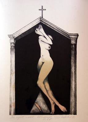 Roberto Andreev; The Night Inside, 1992, Original Printmaking Lithography, 25 x 42 cm. Artwork description: 241  clasic medium on a Bavarian stone ...