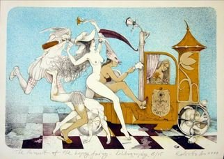 Roberto Andreev; The Pursuit Of The Happy Fairy, 1999, Original Printmaking Lithography, 42 x 34 cm. Artwork description: 241  classic medium on a Bavarian stone    ...