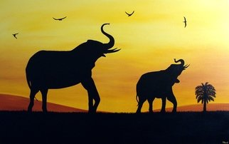 Tanya Hansen; Meeting The Sunset, 2017, Original Painting Acrylic, 48 x 30 inches. Artwork description: 241 Strength, honor, stability and patience, among other attributes - this is all about elephants. Together with a few of African birds, two related elephant, greeted the sunset - so bright, so hot and so tired, but still granting mainly African beasts, profound joy and happiness. This animals brings you ...