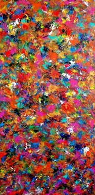 Tanya  Hansen; Carnival, 2019, Original Painting Acrylic, 24 x 48 inches. Artwork description: 241  CARNIVAL  - Large colorful abstract contemporary art, textured painting, finger painting.Ready to hang, 2 coats of varnish, artist wrapped canvas. Fit any wall color and room with bright colorful palette with adding golden color,which is noticeable depending on the room lighting. Can be used in vertical ...