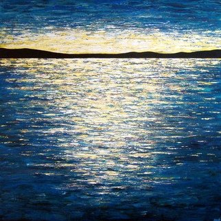 Tanya  Hansen; Marvelous Reflection, 2017, Original Painting Acrylic, 48 x 48 inches. Artwork description: 241  Marvelous Reflection  - This unforgettable spilled sun, with it reflection and beauty in the night water, which each of us at least once in his life watched at sunset. When the tired sun, shows us a distant horizon - where the power of the mountains, bathed in sunshine, and ...