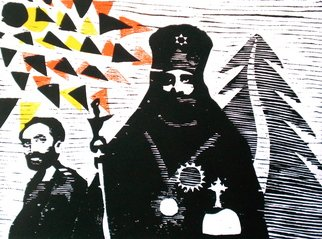 Tarrvi Laamann; Kings Of Kingz, 2012, Original Printmaking Woodcut, 50 x 40 cm. Artwork description: 241  rare woodcutprint by www. laamann. ee    ...