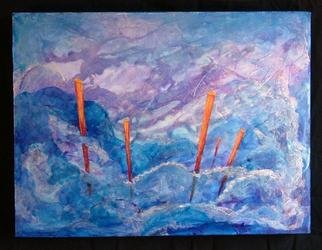 Tary Socha; Five Poles, 2005, Original Painting Acrylic, 16 x 12 inches. Artwork description: 241 An impression of angular boyant poles in contrast with fluidity and movement of ocean waves....