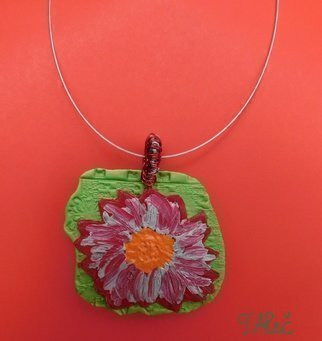 Tatjana Alic; Handmade Necklace, 2019, Original Crafts, 60.2 x 55.2 mm. Artwork description: 241 Necklace:- green pendant with colorful design  flower - choker, silver - colored...