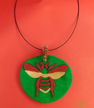 Tatjana Alic; Handmade Necklace, 2019, Original Jewelry, 65.4 x 50.3 mm. Artwork description: 241 Necklace:- green pendant with red gold design  bee - choker, black - colored...