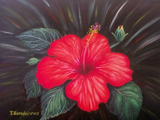 Tatyana Bondareva; Hibiscus, 2012, Original Painting Oil, 40 x 30 cm. Artwork description: 241     hibiscus, oil painting, flowers, still life, red, green, summer, Tatyana Bondareva, original painting, oil paintings, art            ...