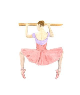 Tracey Carmen; At The Barre, 2015, Original Watercolor, 29 x 42 cm. Artwork description: 241  A pencil drawing finished with watercolor of a ballerina at the barre. Painted in Bristol Board paper ...