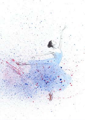 Tracey Carmen; Blue Ballerina In Motion, 2018, Original Watercolor, 297 x 420 mm. Artwork description: 241 This is part pencil drawing and part watercolour of a ballerina. The top part of the dancer is purposely kept colourless to show a contrast between that part and the movement and colour of the body. The body has been covered with some spray to further add ...