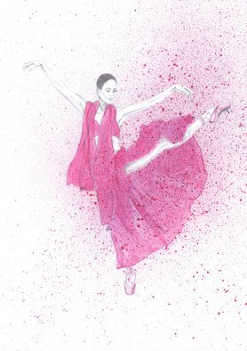 Tracey Carmen; Pink Ballerina In Motion, 2018, Original Watercolor, 297 x 420 mm. Artwork description: 241 This is part pencil drawing and part watercolour of a ballerina. The top part of the dancer is purposely kept colourless to show a contrast between that part and the movement and colour of the body. The body has been covered with some spray to further add ...