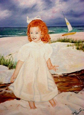 Terri Flowers, Allens Redhead Girl on Beach, 2008, Original Painting Acrylic,    inches