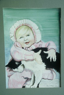 Terri Flowers, Baby and Cat Watercolor, 1999, Original Watercolor, size_width{Baby_and_Cat_Watercolor-1458052864.jpg} X 12 inches