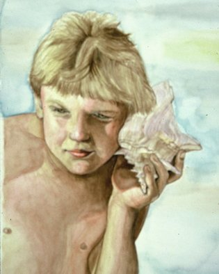 Terri Flowers, Boy and Best Friend, 1990, Original Watercolor,    inches