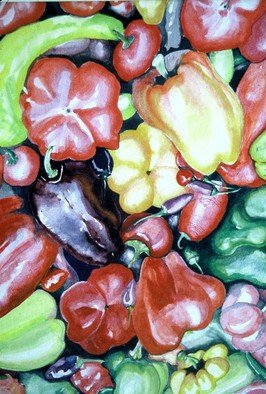 Terri Flowers, Peppers in Color, 1986, Original Watercolor,    inches