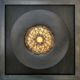 Ted Schaal; Accretion, 2020, Original Sculpture Mixed, 24 x 24 inches. Artwork description: 241 This piece is steel, copper, wood and gold leaf. The disk is suspended 3 4  above the wood which is stained black. The gold in the center is on the wood and the hammered copper wires are suspended. the frame is 1 1 2  steel angle. ...