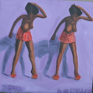 Terry Matarelli; 2 Fall, 2007, Original Painting Oil, 24 x 24 inches. Artwork description: 241  female figure ina a state of grace falling twice ...