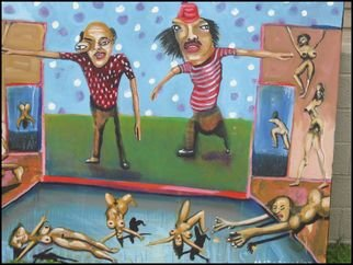 Terry Matarelli; Watch Out For The Trolls, 2007, Original Painting Oil, 40 x 30 inches. Artwork description: 241  middle aged male bonding through advice ...