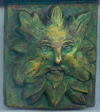 Teresa Turner; Gothic Green Man Wall Scu..., 2006, Original Sculpture Other, 2 x 3 inches. Artwork description: 241 A popular theme in 14th century art, this green man is created in hydrostone and acrylics, with a verdigris finish. ...