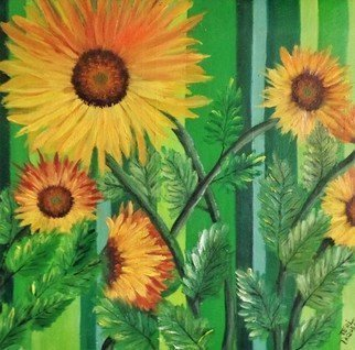 Teri Paquette; Sunny Sunflowers, 2020, Original Painting Oil, 20 x 16 inches. Artwork description: 241 A GROUP OF SUNFLOWERS AGAINST A GREEN FENCE- CATCHINGTHE SUN...