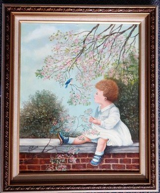 Teri Paquette; The Bluebird, 2019, Original Painting Oil, 20 x 24 inches. Artwork description: 241 THIS IS AN OIL PAINTING FEATURES LITTLE GIRL ENJOYING THE BUEBIRD ABOVE HER- I PAINTED THIS BECAUSE OF THE BEAUTIFUL SETTING WHICH TELLS A STORY, I WANT MY ART TO PROJECT FEELINGS WHEN FIRDT OBSERVED- IT IS PAINTED ON STRETCHED CANVAS- IN A HIGH QUALITY CUSTOM MADE ...