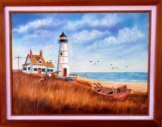 Teri Paquette; The Lighthouse, 2018, Original Painting Oil, 29 x 22 inches. Artwork description: 241 ORIGINAL OIL- FEATURES A LIGHTHOUSE- OCEAN- BOAT- SEAGULLS- WIDE FRAMED- SIGNED...