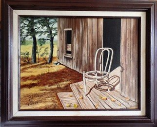 Teri Paquette; The Lonely Chair, 2020, Original Painting Oil, 23 x 19 inches. Artwork description: 241 ACTUAL SETTING IN THE WEST- A THREE LEGGED CHAIR  MUST HAVE MANY STORIES TO TELL- IN OLD CABIN- IN WIDE FRAME...