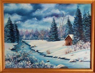 Teri Paquette; Winter Blues, 2017, Original Painting Oil, 26 x 20 inches. Artwork description: 241 ORIGINAL OIL PAINTING OF A CABIN- WINTER SCENE- RIVER- TREES- SIGNED...