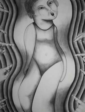 Teri Mcgee; Body Image, 2011, Original Drawing Charcoal, 18 x 20 inches.