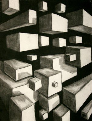 Teri Mcgee; Boxed In, 2010, Original Drawing Charcoal, 18 x 20 inches.