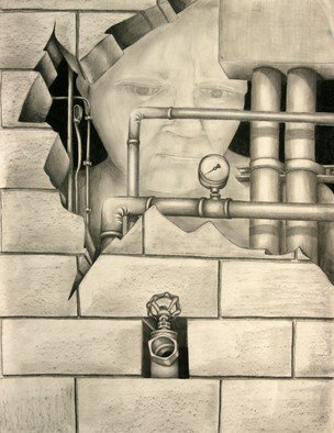 Teri Mcgee; Handy Man, 2011, Original Drawing Charcoal, 18 x 20 inches.