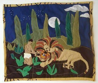 Terri Higgins, 'Androcles And The Lion', 1998, original Fiber, 22 x 20  inches. Artwork description: 1911 Androcles and the Lion, Aesop' s Fable, Androcles removing thorn from lion' s paw. Fabric, beads, quilted, thorn....