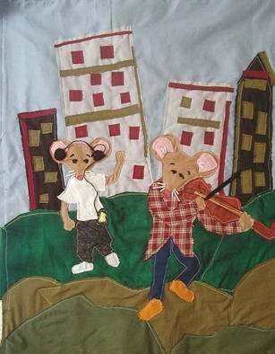 Terri Higgins, 'Country Mouse And The Cit...', 1998, original Fiber, 21 x 25  inches. Artwork description: 1911 Country Mouse and the City Mouse, Aesop' s Fable, be content with what you have. Fabric, beads, wire....