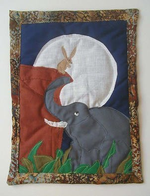 Terri Higgins, 'The Elephants And The Moon', 1998, original Fiber, 11 x 16  inches. Artwork description: 1911 The Elephants and the Moon, Aesop' s Fable. Great things may be done by the cleverness of the little to get the better of the big and strong. Fabric, beads, quilted....