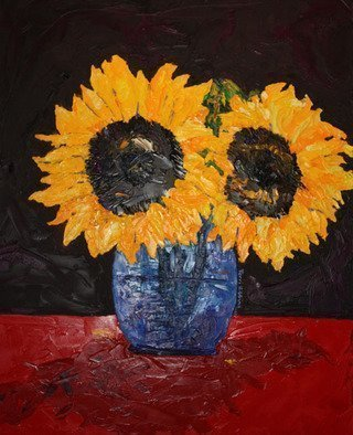 Terri Higgins; The Patience of Sunflowers, 2010, Original Painting Oil, 24 x 30 inches. Artwork description: 241  Sunflowers in blue vase ...