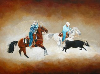 Tammy Fleetwood Moody; Ropin Team, 2008, Original Painting Acrylic, 24 x 18 inches. Artwork description: 241  This is an 18 x 24 inch acrylic painting on stretched canvas. This painting was done for Grand National Rodeo Artshow in San Francisco, Ca. It was on display for nine days in Cow Palace. ...