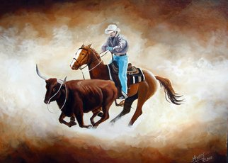 Tammy Fleetwood Moody; The Chase, 2008, Original Painting Acrylic, 20 x 24 inches. Artwork description: 241  This is a 20x24 acrylic painting on stretched canvas. It is one of five that were done for The Grand National Rodeo Art Show in San Francisco, Ca. I was 1 of 100 artists invited to show there. Signed and sealed. ...