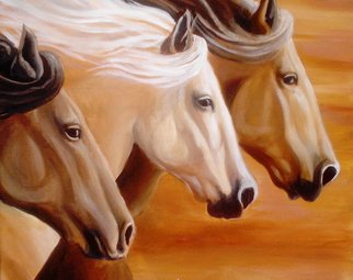 Tammy Fleetwood Moody; Wild And Free, 2007, Original Printmaking Giclee, 16 x 20 inches. Artwork description: 241  This is a giclee poster print of an acylic painting of three wild horses. ...