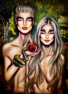 Tiago Azevedo; Adam And Eve In Eden By T..., 2016, Original Painting Oil, 20 x 28 inches. Artwork description: 241 This painting is an interpretation of Genesis in which Eve is blamed for accepting the forbidden fruit, although the type of fruit is not stated, tradition opts for an apple and there is a reference to a second tree, a fig, whose leaves are used by Adam ...