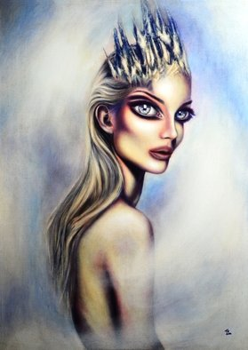Tiago Azevedo; Elsa Painting By Tiago Az..., 2016, Original Painting Oil, 20 x 28 inches. Artwork description: 241 The Snow Queen is an original fairy tale written by Danish author Hans Christian Andersen.  The tale was first published in 1844 and the story centers on the struggle between good and evil as experienced by Gerda and her friend, Kai.In this painting, the idea is ...