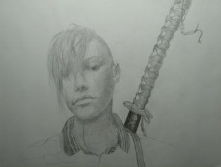 River Hawkins; Samurai Jane, 2007, Original Drawing Pencil, 24 x 18 inches. Artwork description: 241  This piece is how I view like my women; Tough and graceful, beautiful and strange ...