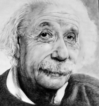 Adam Burgess; Einstein , 2015, Original Drawing Charcoal, 18 x 24 inches. Artwork description: 241   This drawing was done bease I have alays admired this man.        ...