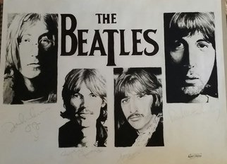 Adam Burgess; The Beatles, 2014, Original Drawing Charcoal, 18 x 24 inches. Artwork description: 241   This is an original charcoal drawing. I have recreated their autographs to mimic their originals. There is a limited run of 25 of these available.   ...