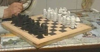 Themis Koutras; Chess, 2019, Original Woodworking, 415 x 16 mm. Artwork description: 241 THIS CHESS BOARD AND CHESS PIECES ARE ALL HAND MADE IT COMES also with checker pieces and black gammon and more games...